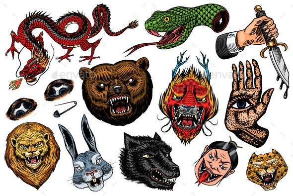 Set of Fashion Patches Tattoo Artwork - Miscellaneous Vectors