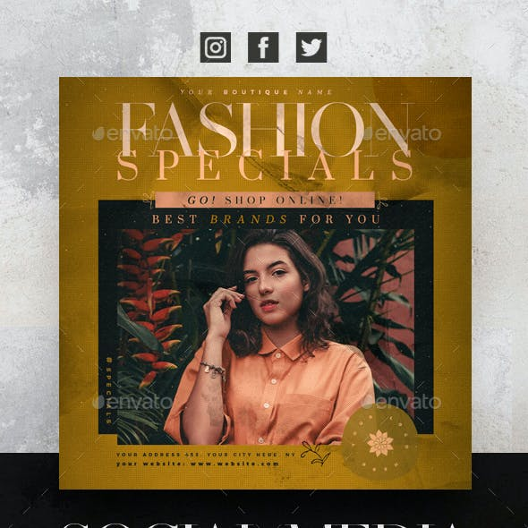 Fashion Specials Social Media Pack + Flyer Template