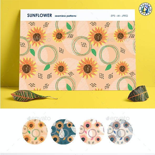 Seamless Pattern With Sunflower