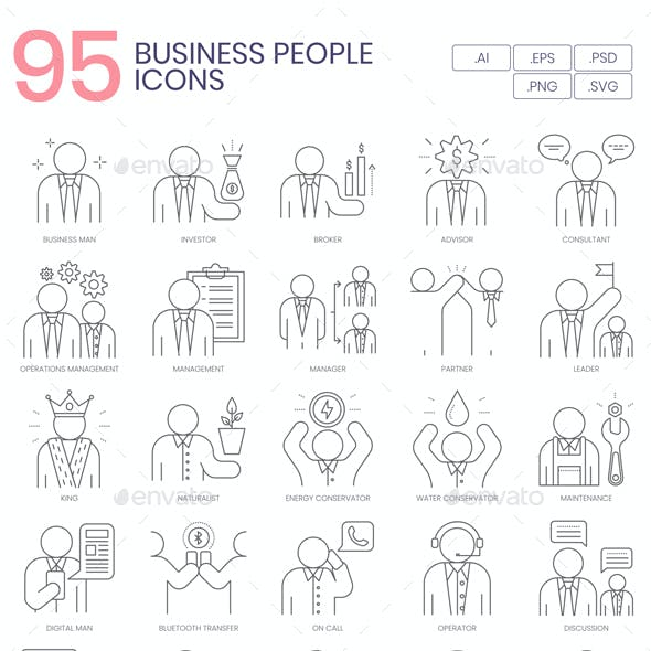 95 Business People Line Icons