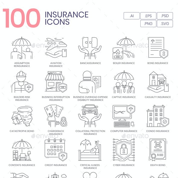 100 Insurance Line Icons