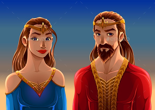 Cartoon Portrait of a King and a Queen - People Characters