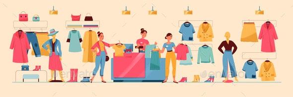 Clothing Store Illustration - Miscellaneous Vectors