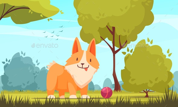 Pet Playing Outdoors Composition - Animals Characters