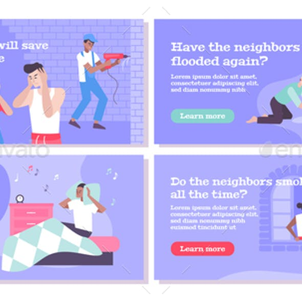 House Neighbors Concept Icons Set