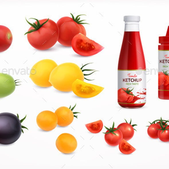 Tomatoes Realistic Icons Set