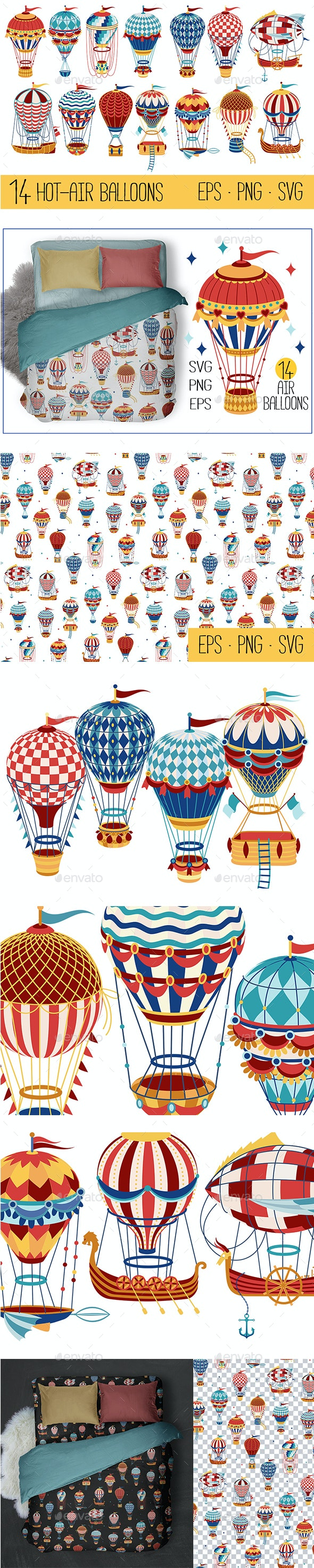 Vintage Hot Air Balloon Collection - Man-made Objects Objects