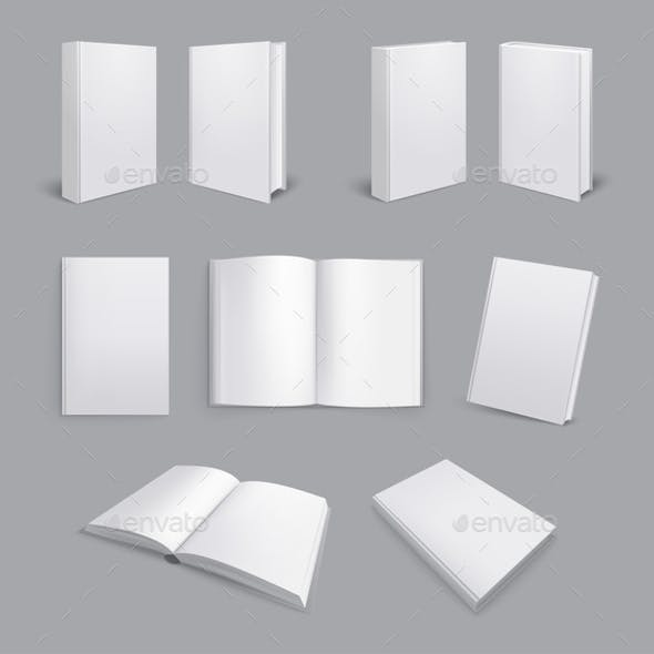 Realistic Book Mockups Set