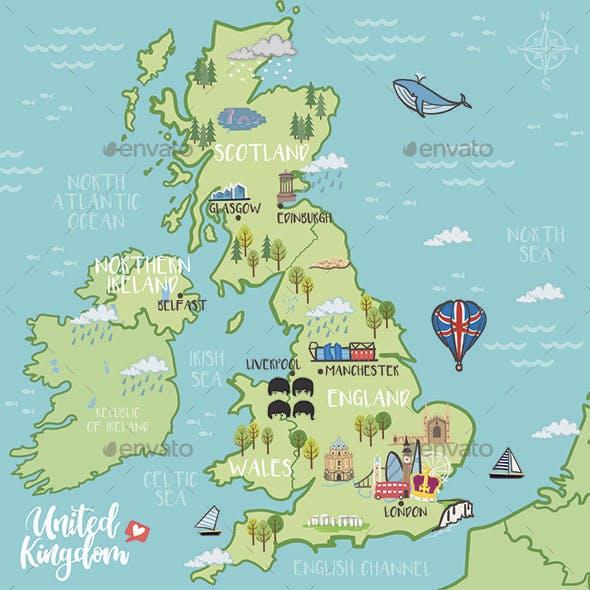 United Kingdom – Illustrated Map