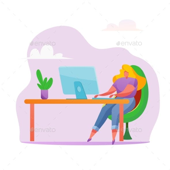 Vector Woman at Desk Remote Work Office Job