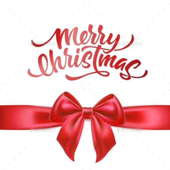 Vector Merry Christmas Lettering with Bow Ribbon - Christmas Seasons/Holidays