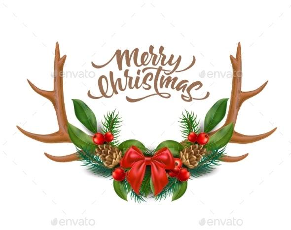 Vector Merry Christmas Lettering Horns Bow Holly - Christmas Seasons/Holidays