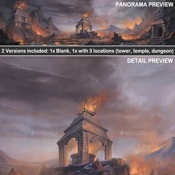 Volcanic Stronghold Exterior - Game Background