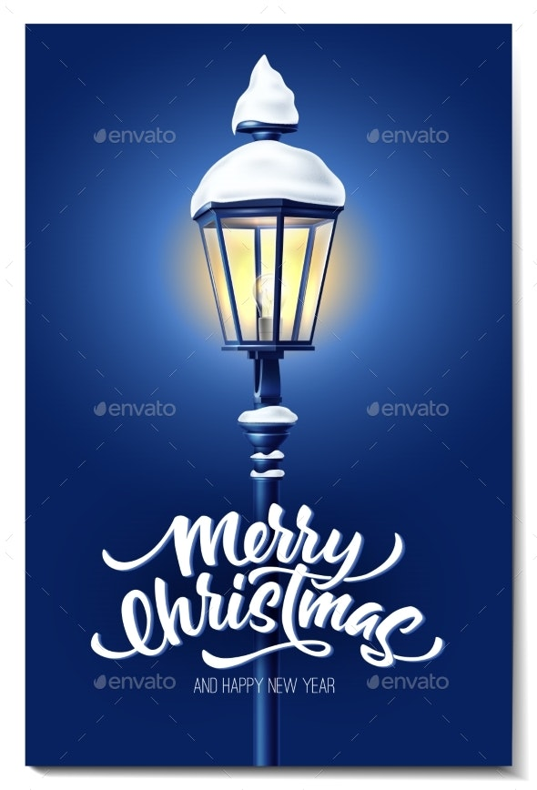 Vector Realistic Streetlight with Snowcap New Year - Christmas Seasons/Holidays