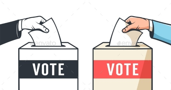 Voting in Elections Hand Drops the Ballot Into - Miscellaneous Vectors