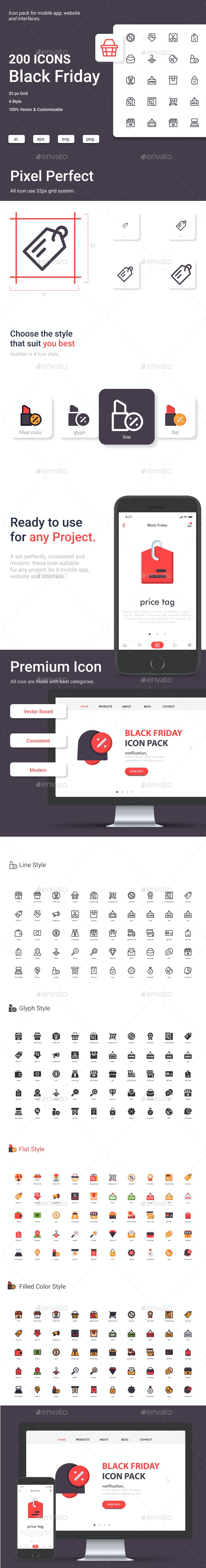 Black Friday Icon Set - Business Icons