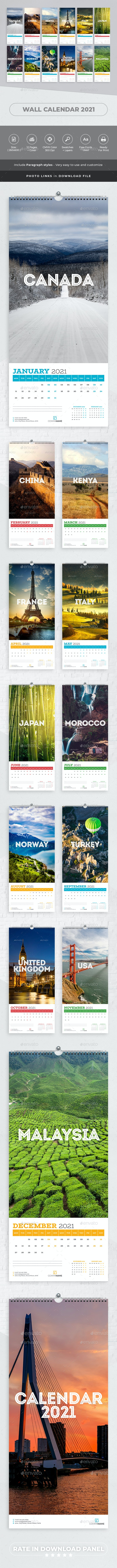 Wall calendar 2021. Country Travel - Calendars Stationery