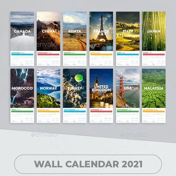 Wall calendar 2021. Country Travel