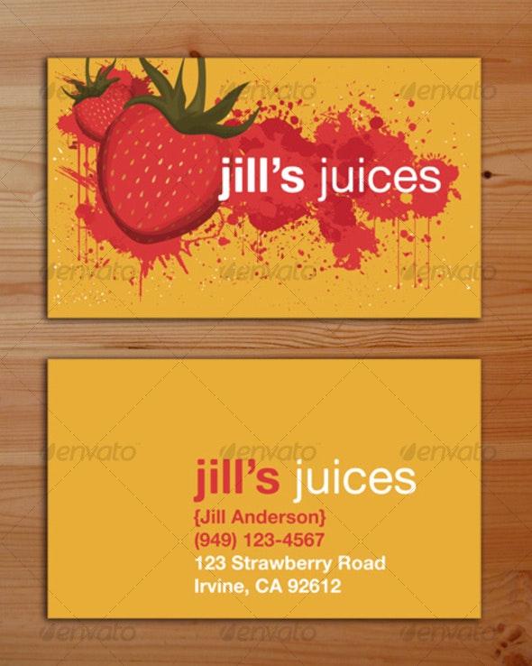 Splattered Strawberries Business Card  - Grunge Business Cards