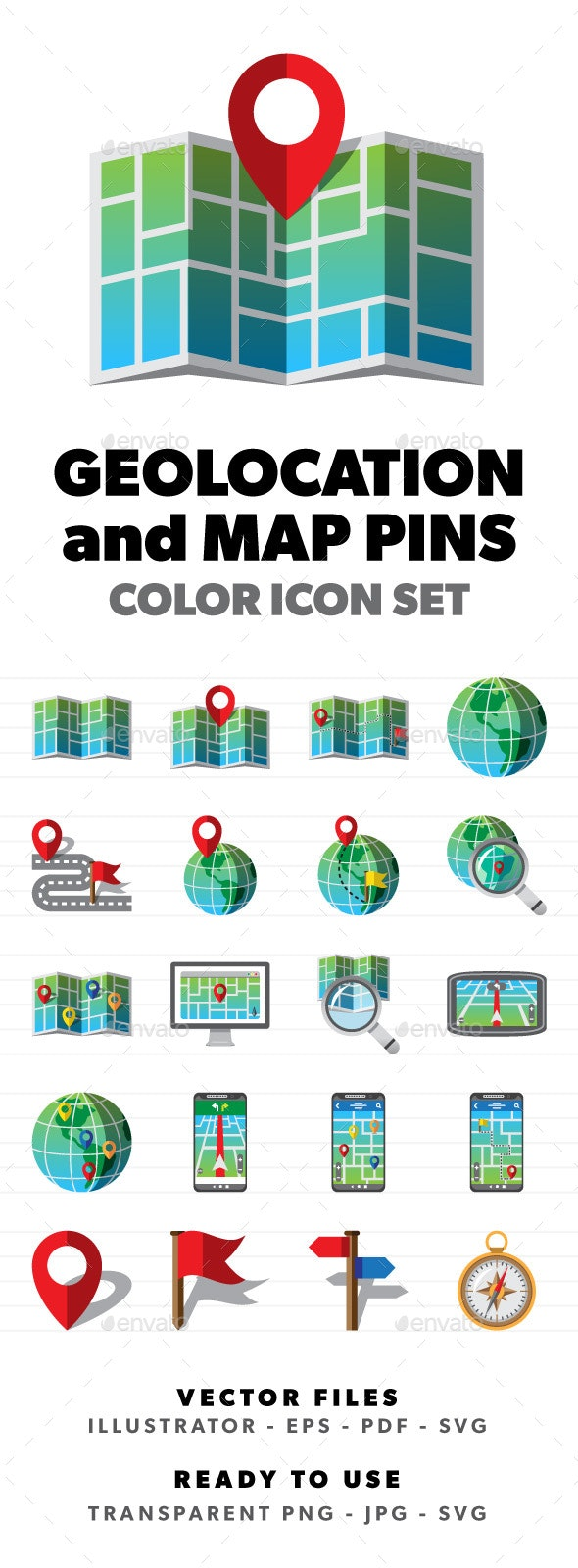Geolocation and Map Pins - Miscellaneous Icons