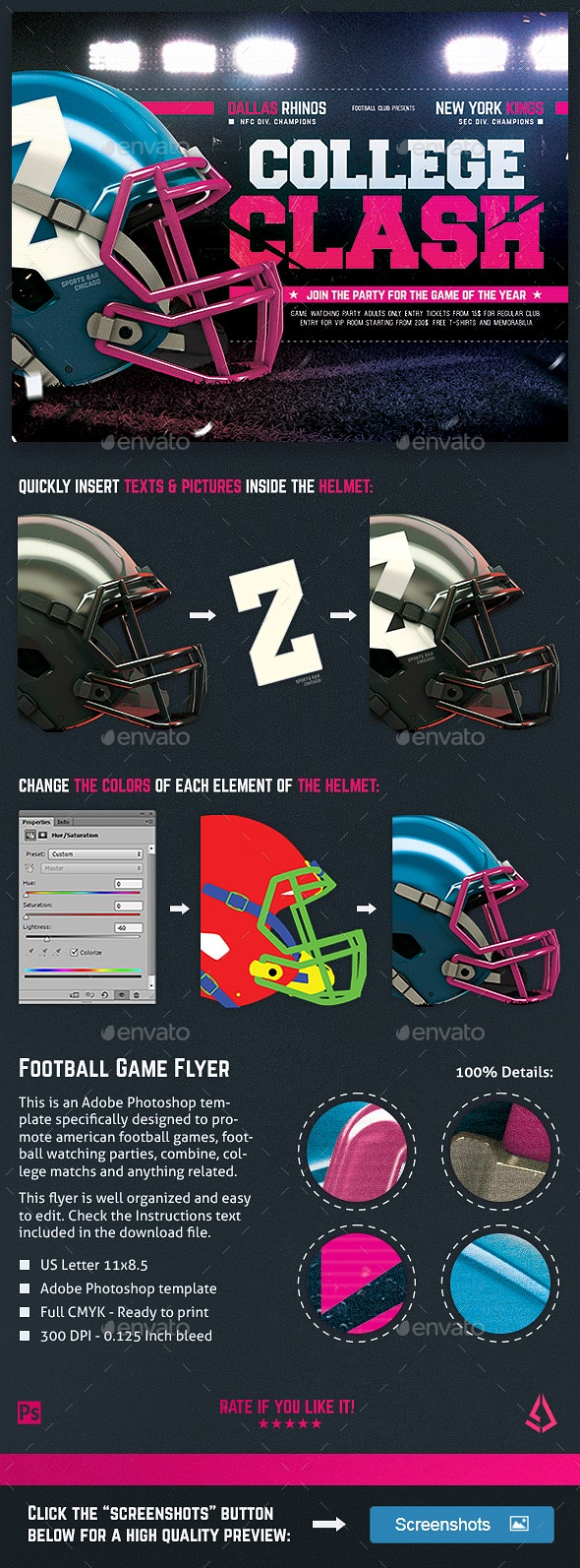 American Football Flyer College Match Template - Sports Events