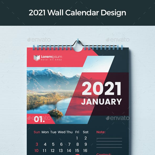 Calendar 2021 With Red & Dark Accents