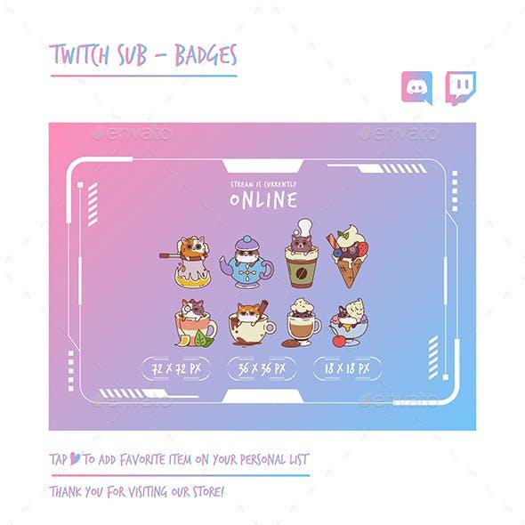 Cat Twitch Sub Badges Chibi Sub Badges