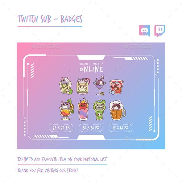 Cat Twitch Sub Badges Chibi Sub Badges - Animals Characters