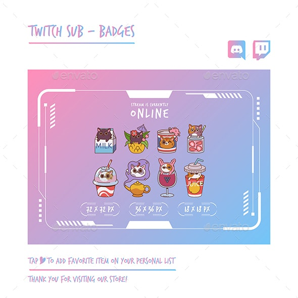 Cat Twitch Sub Badges - Animals Characters