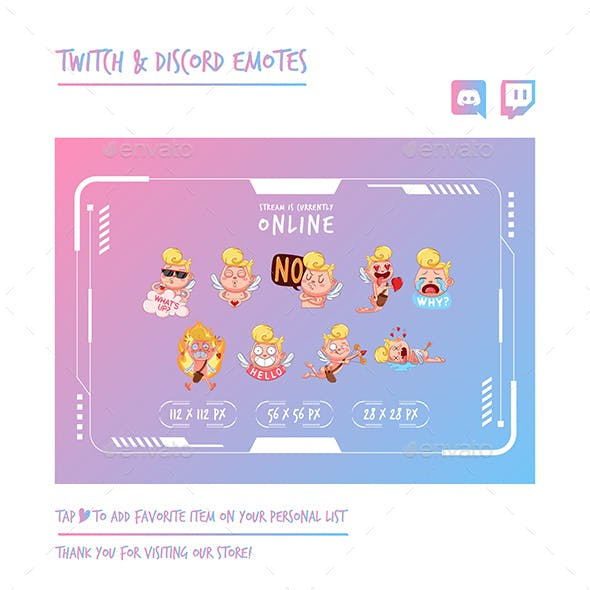 Cupid Twitch Emotes Chibi Emotes Cute Emotes Kawaii Emotes Funny Emotes Discord Emotes