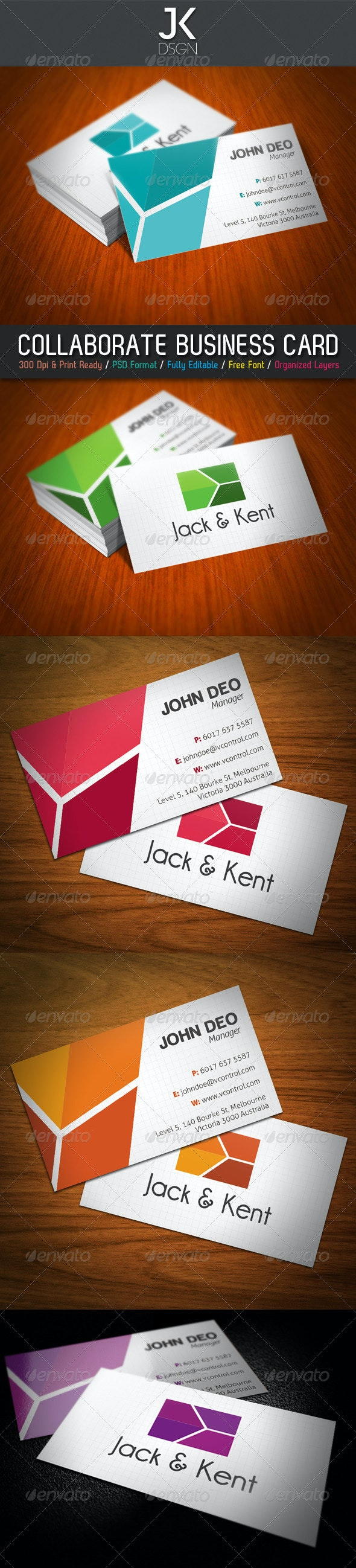 JK Collaborate Business Card - Corporate Business Cards