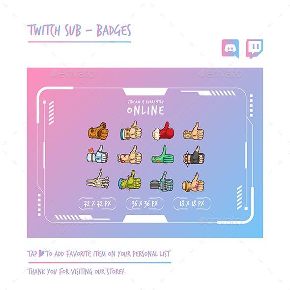 Thumbs Up Twitch Sub Badges Chibi Sub Badges Cute Sub Badges Kawaii Sub Badges Funny Badges Discord