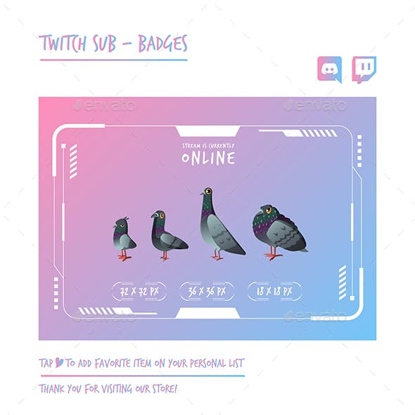 Pigeon Twitch Sub Badges Chibi Sub Badges Cute Sub Badges Kawaii Sub Badges Funny Badges Discord