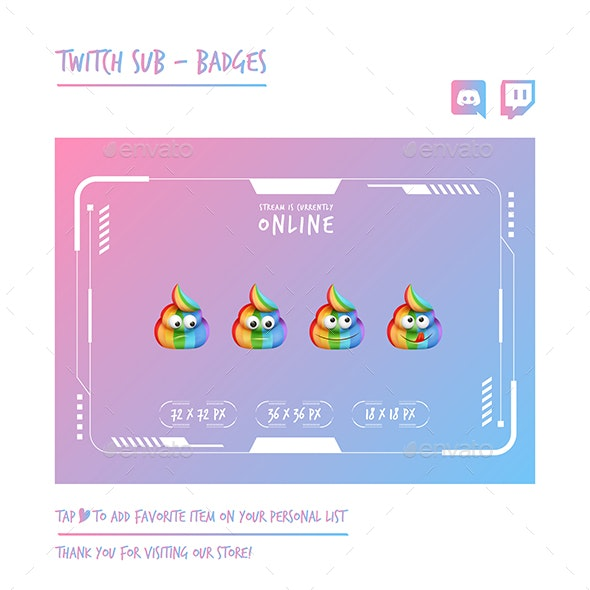 Poop Twitch Sub Badges Chibi Sub Badges Cute Sub Badges Kawaii Sub Badges Funny Sub Badges Discord - Miscellaneous Characters