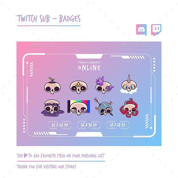 Skull Twitch Sub Badges Chibi Sub Badges Cute Sub Badges Kawaii Sub Badges Funny Sub Badges Discord - Monsters Characters