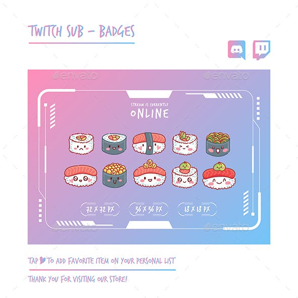 Sushi Twitch Sub Badges Chibi Sub Badges Cute Sub Badges Kawaii Sub Badges Funny Sub Badges Discord