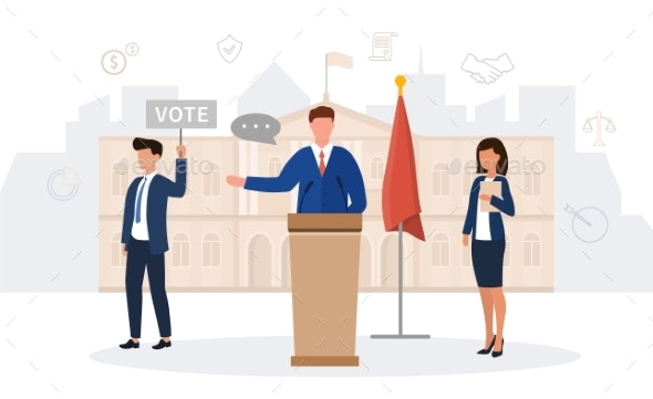 A Male Politician Making a Speech - People Characters