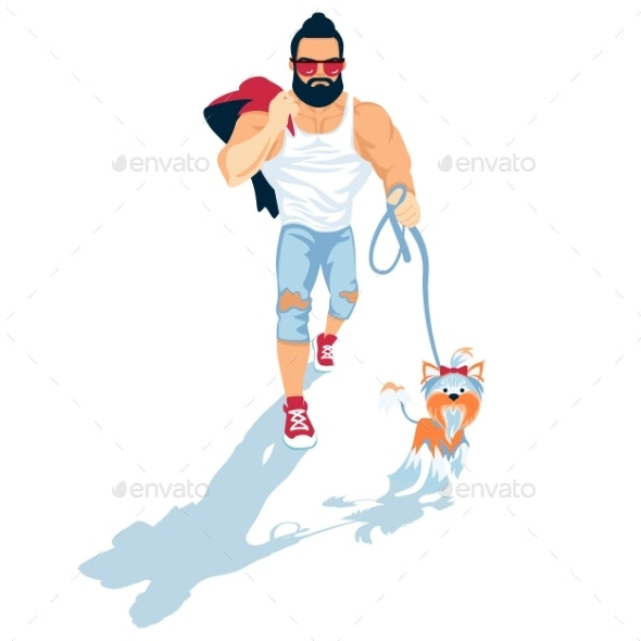Bearded Guy Walk the Dog - People Characters