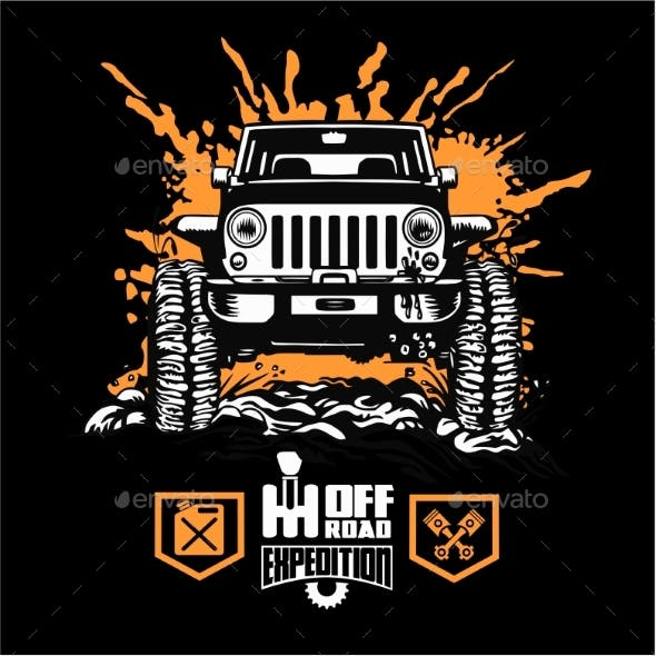 Jeep Wrangler - Suv Car on Black - Elements for