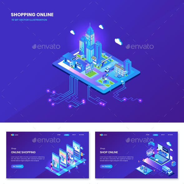 Shopping Isometric Vector Illustrantion Concept Landing Page