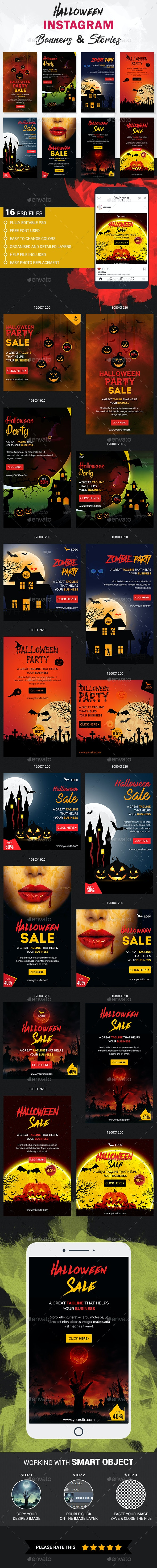 Halloween Instagram Story and Banner Templates - Social Media Web Elements