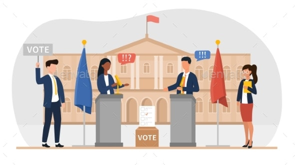 A Man and a Woman Hold an Election Debat - Business Conceptual