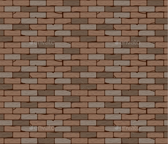 Brick Wall Seamless Background or Texture Vector - Backgrounds Decorative