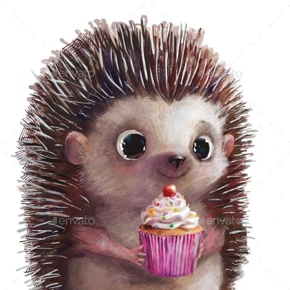 Cute Hedgehog with Present Pink Birthday Cake