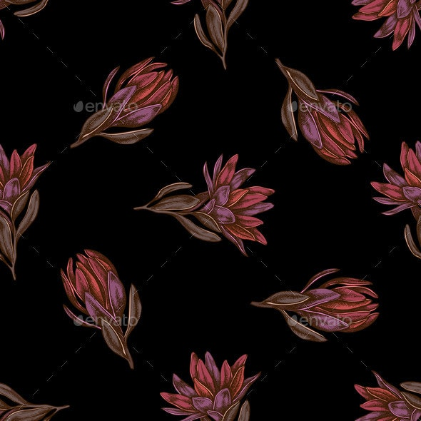 Seamless Pattern with Hand Drawn Colored - Flowers & Plants Nature