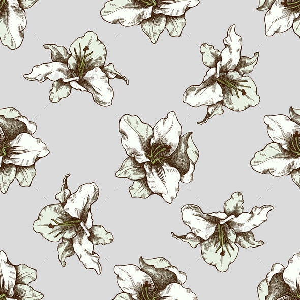 Seamless Pattern with Hand Drawn Colored Lily - Flowers & Plants Nature