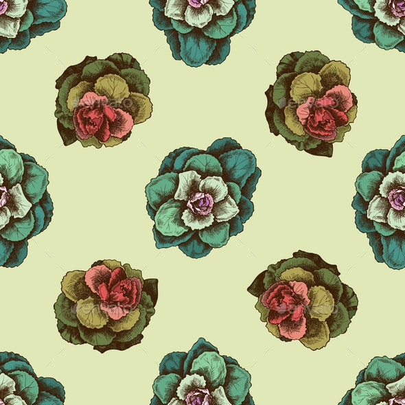 Seamless Pattern with Hand Drawn Colored Brassica - Flowers & Plants Nature