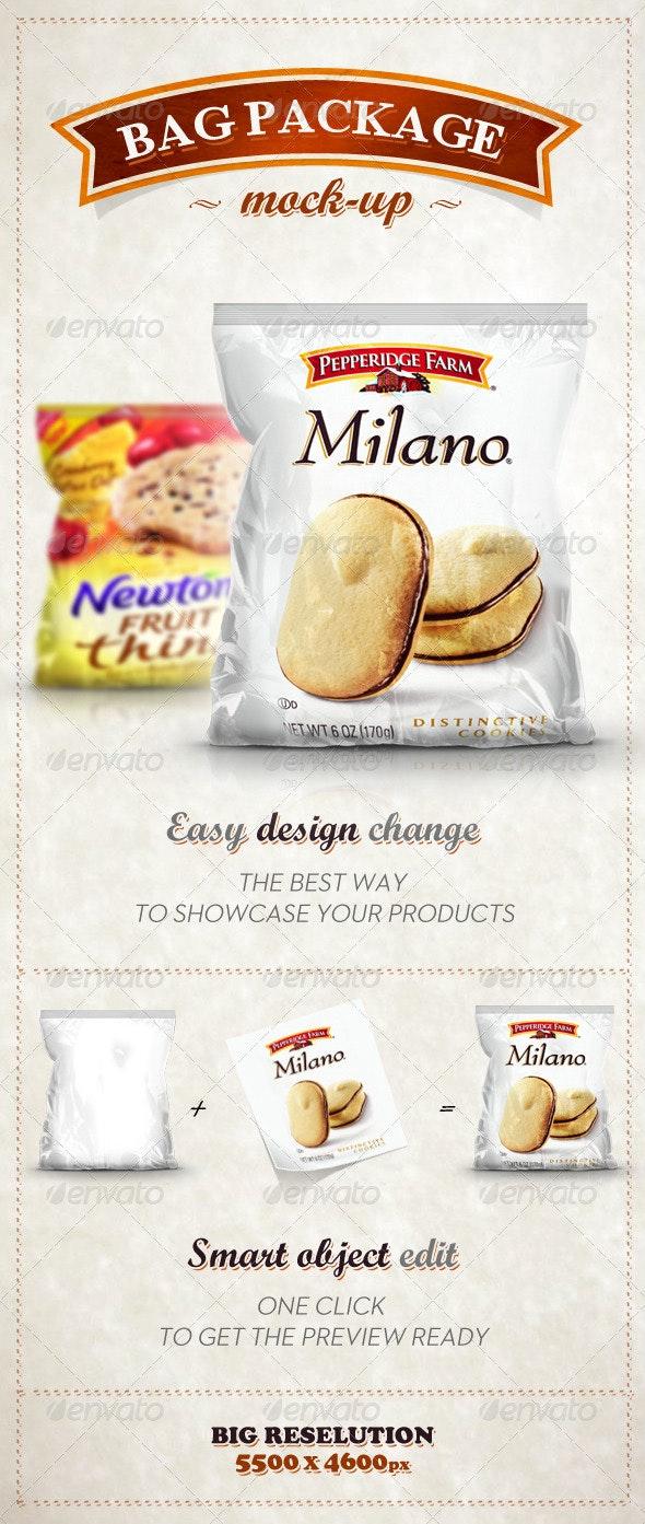 Bag Pack Package Foil Mock - Up - Food and Drink Packaging