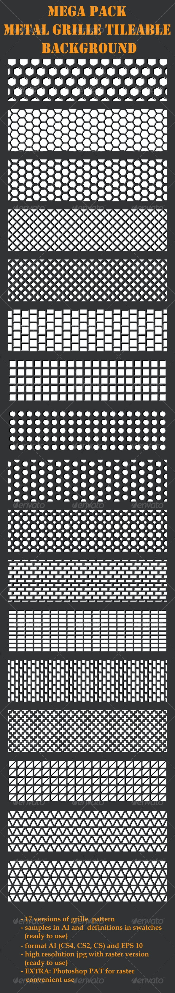 Grille Metal Backgrounds - Mega Pack - 17 patterns - Patterns Decorative
