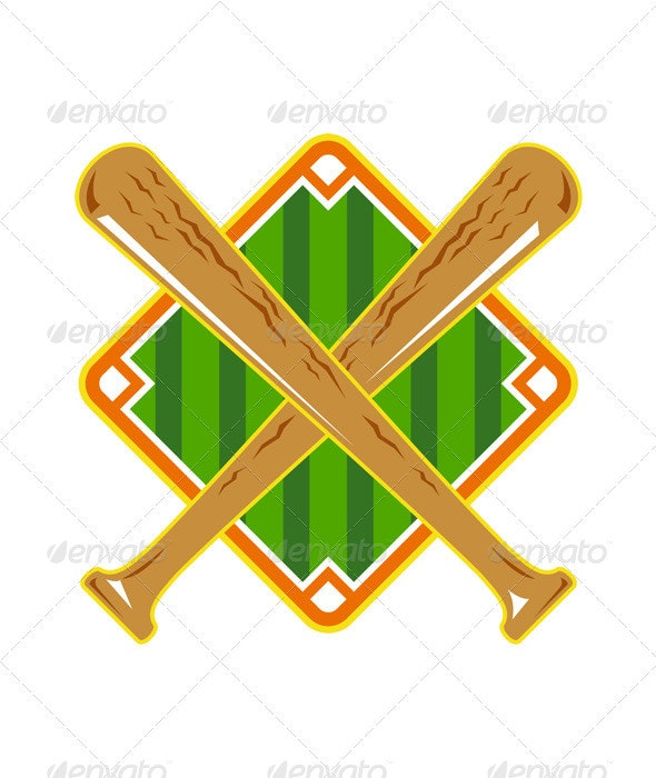 Baseball Diamond Crossed Bat Ret - Objects Vectors